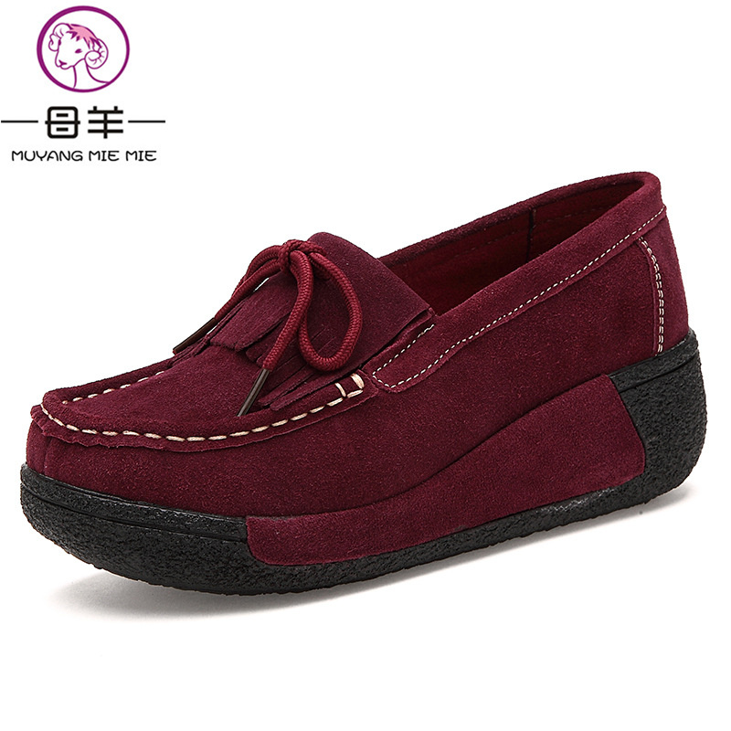 MUYANG Chinese Brand High Heels 2017 Fashion Genuine Leather Single Platform Shoes Woman Elevator Wedge Shoes Women Pumps