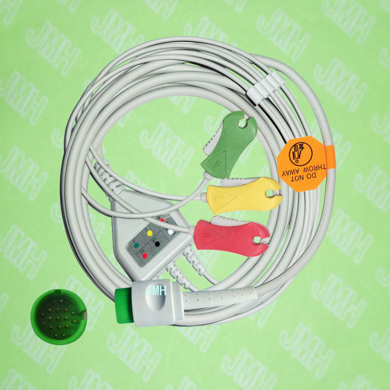 Compatible with 17pin Spacelab 90496,90369 and 90367 ECG Machine the one-piece 3 lead cable and clip leadwire,IEC or AHA.