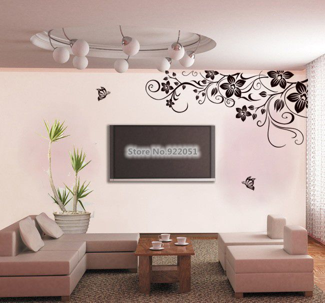 Jm7107 Free Shipping Large Size Black Vinyl Erfly Flowers Vine Art Wall Sticker Living Room Bedroom Border Decor In Stickers From Home