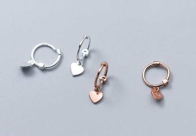 503d5f97e very Tinny Small 5mm polished heart Hoop Huggie earrings dangle 100% Real. Sterling  Silver 925 Fine Jewelry gtle2129