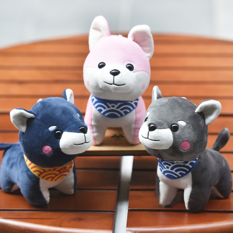 1PC Wear scarf Akita Shiba Inu dog plush toy soft stuffed dog toy good valentines gifts for girlfriend 20cm good homelessness 20cm