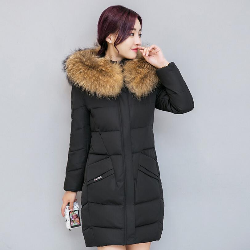 2017 Winter Women Hooded cotton wadded Coat Big Fur Collar Warm down cotton Jacket Parka plus size 3XL s1371 yi la 2017 new winter fur collar hooded down cotton coat fashion women s long coat cotton warm jacket parka plus size 3xl s869