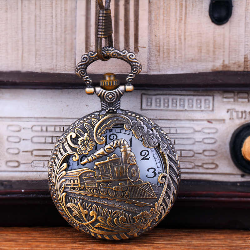 Vintage Quartz Pocket Watch Train Carved Openable Hollow Steampunk Theme Pocket Fob Watch Men Women Necklace Pendant Clock Gifts