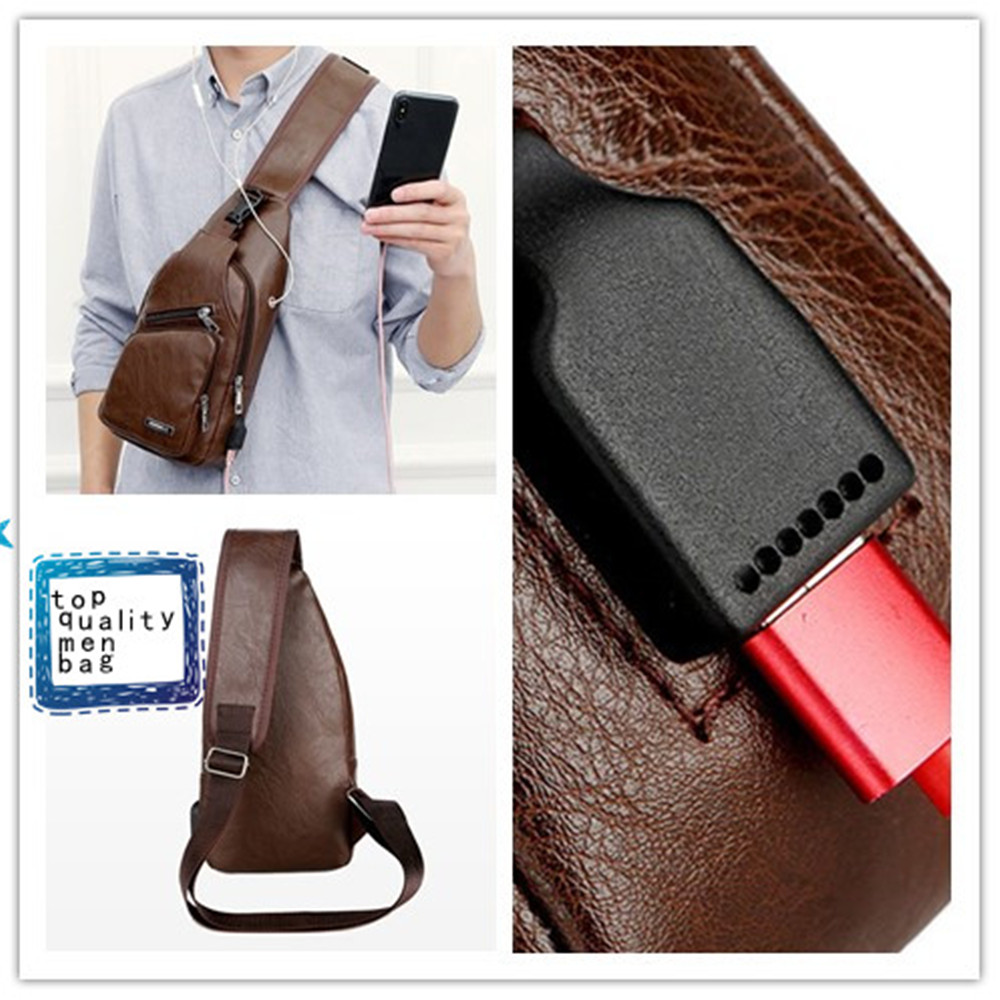 9a185e268a7ed Leisure Faux Leather USB Charge Zipper Shoulder Crossbody Bag Men Chest Pack