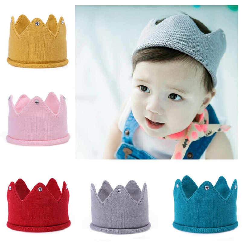 Baby Crochet Crown headband Little boys girls Crown hat Infant Toddler Hair accessories Kids Children Photo props 1pc HB101 newborn photography props child headband baby hair accessory baby hair accessory female child hair bands infant accessories