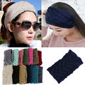 Belleza moda 13 colores flor de ganchillo de punto Headwrap diadema Ear Warmer pelo Muffs Band Winter Y1
