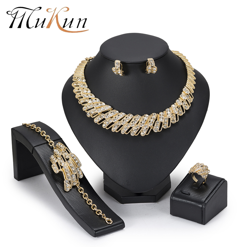 MuKun New Fashion Dubai Jewelry Sets For Women Gold Color Indian Bridesmaid Choker African Beads 2018