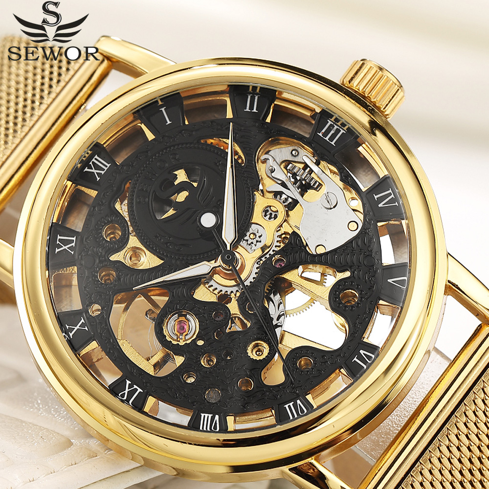 SEWOR Male Wristwatch Gold Fashion Simple Skeleton Stainless Steel Mesh Band Men Watches Top Brand Luxury Mechanical Watch fashion men mechanical hand wind watches men skeleton stainless steel wristwatches for male luxury golden watch men
