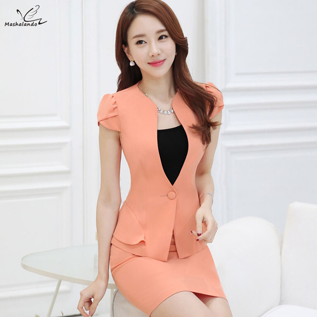 2016 Summer slim women's skirt suits Business formal office ladies elegant short sleeve blazer with skirt plus size work wear