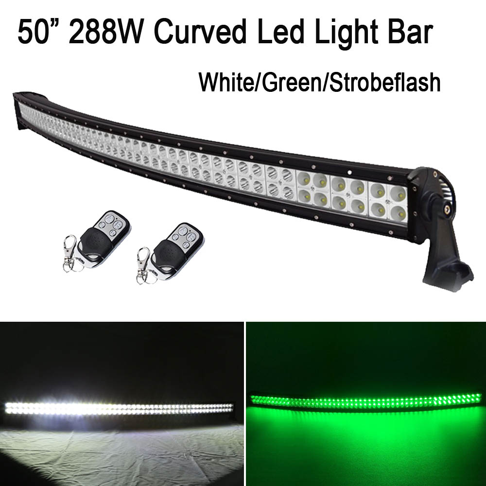 50 288W White /Green Switched Stroboflash Led Curved Work Light Bar Spot Flood Combo for OFFROAD JEEP TRUCK Hunting 4X4 ATV SUV 1pcs 120w 12 12v 24v led light bar spot flood combo beam led work light offroad led driving lamp for suv atv utv wagon 4wd 4x4