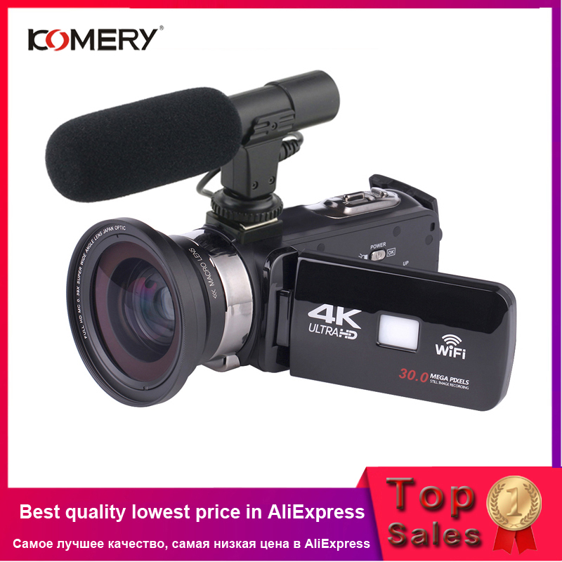 KOMERY 4K Camcorder Camera Time-Lapse Photography Night-Vision Wifi LCD with Micr Touch-Screen