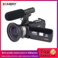 KOMERY 4K видеокамера, видеокамера, Wi-Fi, ночное видение, 3,0 дюймов, сенсорный ЖК-экран, покадровая фотография, камера для фотосъемки с Micr