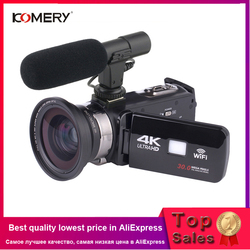 KOMERY 4K مسجّل وكاميرا فيديو كاميرا Wifi للرؤية الليلية 3.0 بوصة LCD تعمل باللمس الوقت الفاصل بين التصوير كاميرا Fotografica مع Micr