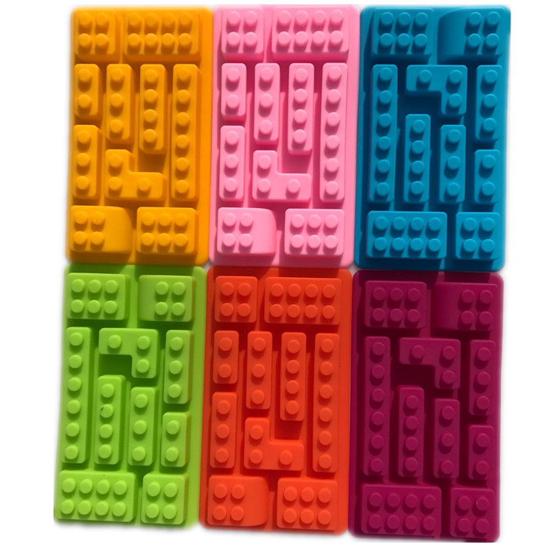 Frugal Creative Kitchen Accessories Rectangular Lego Silicone Chocolate Mold Cake Tools Ice Jelly Candy Mould Baking Pastry Tools F0118 Delaying Senility Baking & Pastry Tools Bakeware