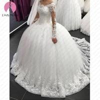 Vestido De Noiva Sexy 2019 New Arrival Lace Ball Gown Wedding Dress Vestidos De Casamento Sexy See Through Back Robe De Mariee