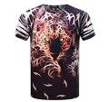 2016 Nuevos Mens Camisetas de Moda T 3D Camisa de Los Hombres leopard Animal Impreso de Manga corta Camiseta Ocasional Homme Creativo Diseñado ropa