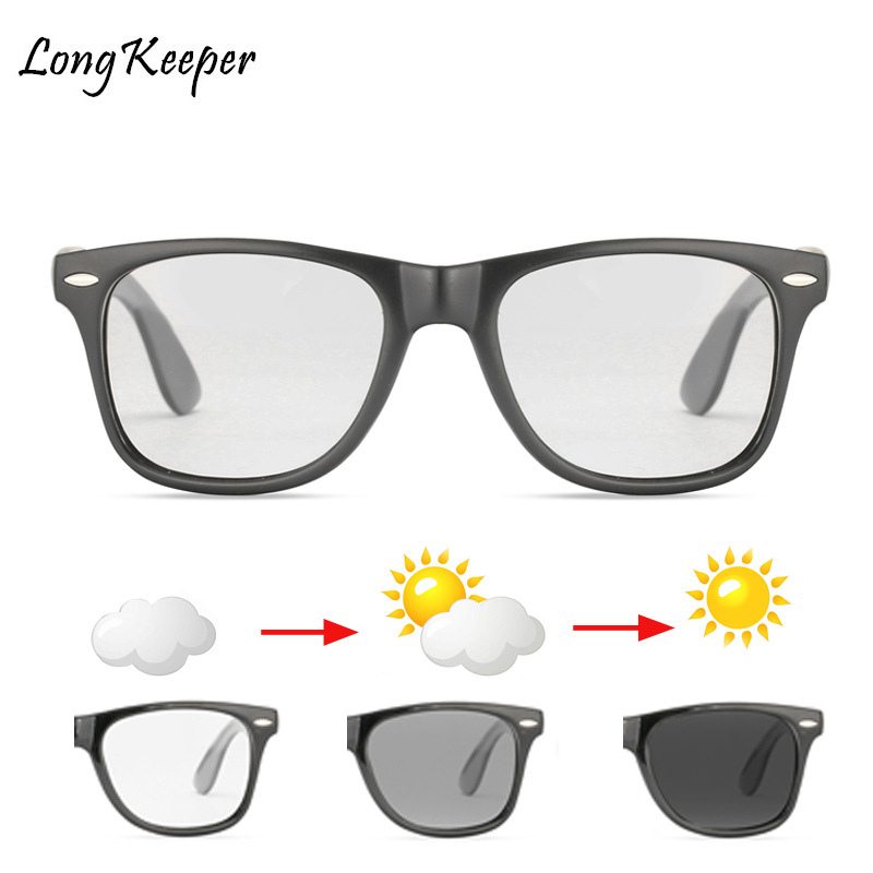 Long Keeper Photochromic Sunglasses Men Women Polarized Chameleon Discoloration Sun Glasses Square Driving Accessories Fashion