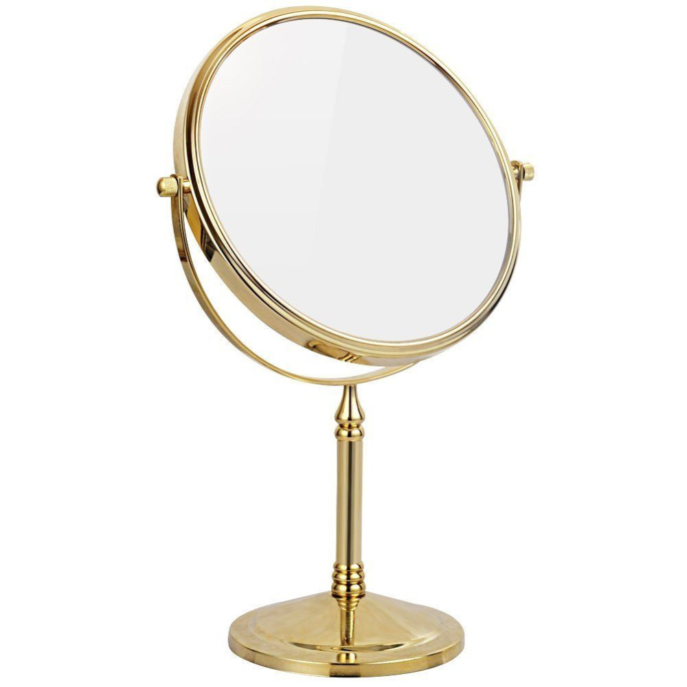 GURUN Round Gold Double Sided Standing Makeup Mirrors with 10X 7X 5X 3X Magnification Regular 360