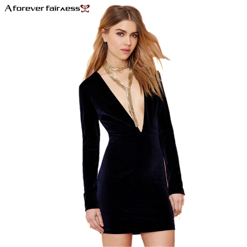 87929b7253 Detail Feedback Questions about Women Dress Deep V Neck Long Sleeve Behind  Hollow Out Backless Deep Midnight Mini Velvet Dress Sexy Slim Club Party  Dress ...