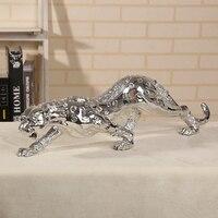 55 см Cheetah Скульптура гальваническим смолы Leopard статуя диких животных Книги по искусству и Craft Орнамент Подарок для дома и офиса Декор