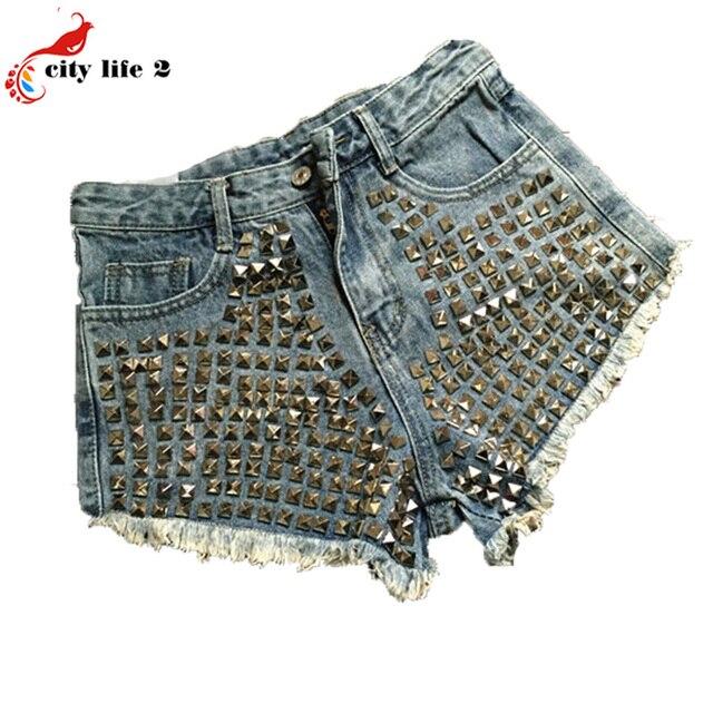 Заклепки сексуальные шорты европейский и американский восстановление высотой талии джинсовые шорты женщин летом свободный стиль широкий - ноги