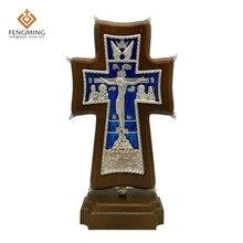 Горячая Распродажа, ортодоксальный крест, христианское металлическое распятие на дубе, религиозная икона, подарок на крестины, русские художественные