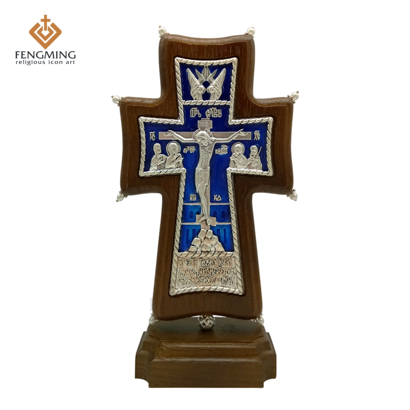 Hot Sale Orthodox Cross Christian Metal Crucifix On Oak Wood Religious Icon Baptism Gift Russians Art