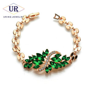 2018 New Style Gold-Color Bracelets For Women Green Black Red Blue Crystal Peacock Opening Ornament Fashion Jewelry KB213-KB216(China)
