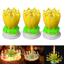 Free shipping 3Pcs/Set Musical Lotus Flower Candle Romantic Party Gift Light for Birthday Surprised wedding decoration