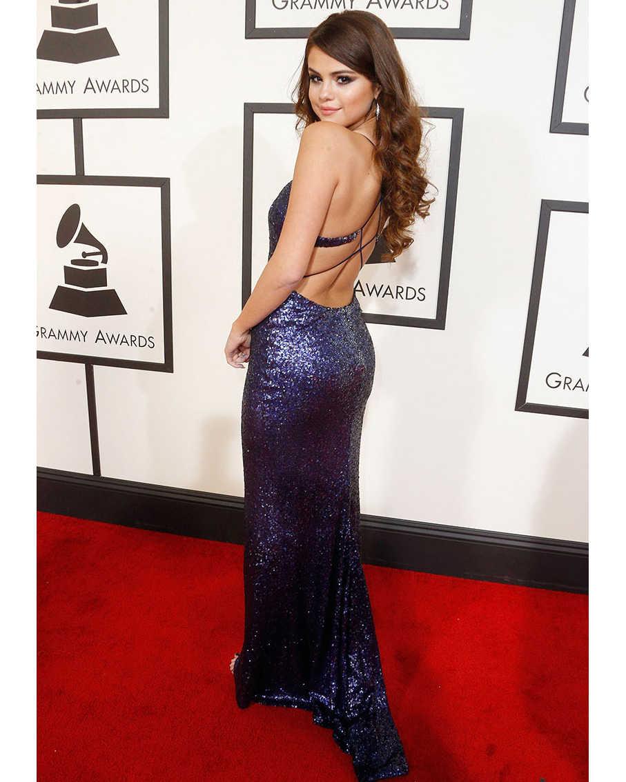 2017 Red Carpet Vestidos de Selena Gomez Celebrity Dress V Cuello de Lentejuelas Violeta Formal Largo Vestidos de Noche Sin Espalda Vestido de Fiesta