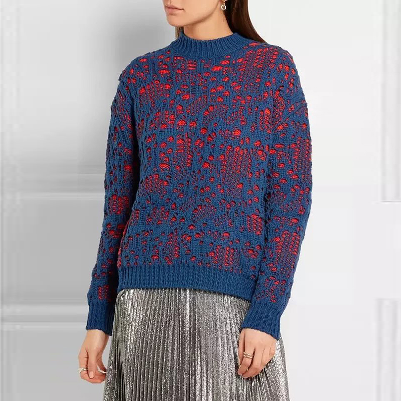 High Quality! Women Maive stitch navy/orange fire <font><b>Knitted</b></font> distressed sweater <font><b>Hollow</b></font> <font><b>out</b></font> <font><b>Pullovers</b></font> Chunky <font><b>Rib</b></font> Executed Knit Tops