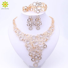 Fine Jewelry Sets For Women Party Accessories Gold Color African Beads Necklace Earrings Bracelet Rings Set Wedding Bridal