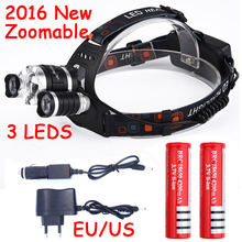 2016 Zoomable 6000LM 3 Leds Head Lamp CREE XM-L T6 + 2 XPE LED Headlamp Headlight Camping Light + 2*18650 battery + Car charger