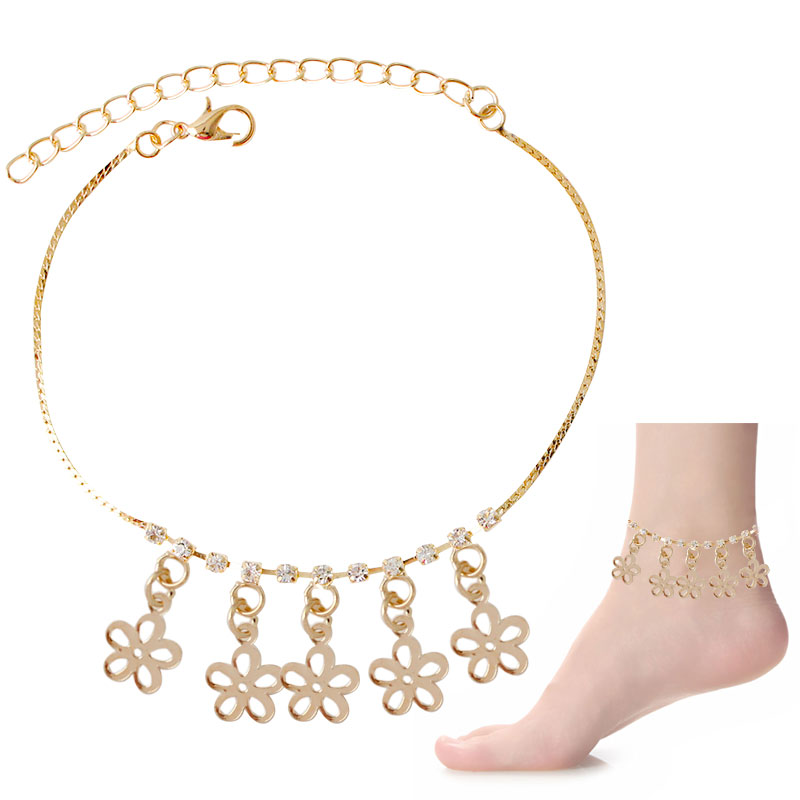 F U Best Selling 2016 Sexy Women Love Ankle Chain Anklet Foot Fashion Flower Beach Girl