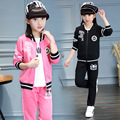 Girls Clothing Sets 2017 Spring cartoon Sports coat+Pants 2 Pieces Fashion Kids Tracksuit 3-14 Years Old Girls Clothes