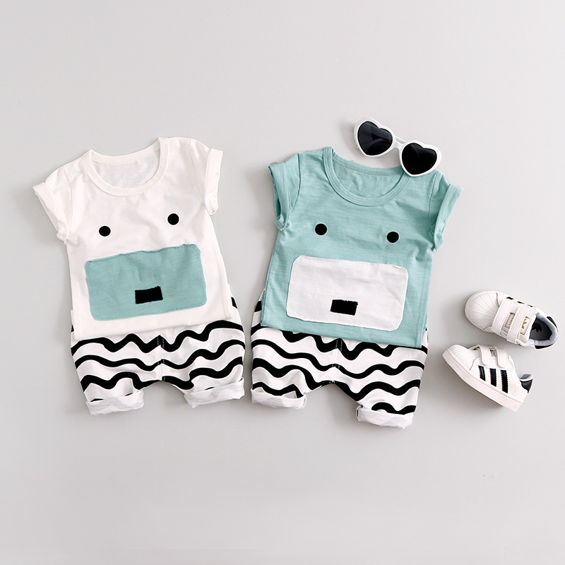 2Pcs Baby Boys Clothes Sets Summer Cotton Cute Animals Print Newborn Clothing Top+Wave Stripes Pant Baby Clothing Sets Children