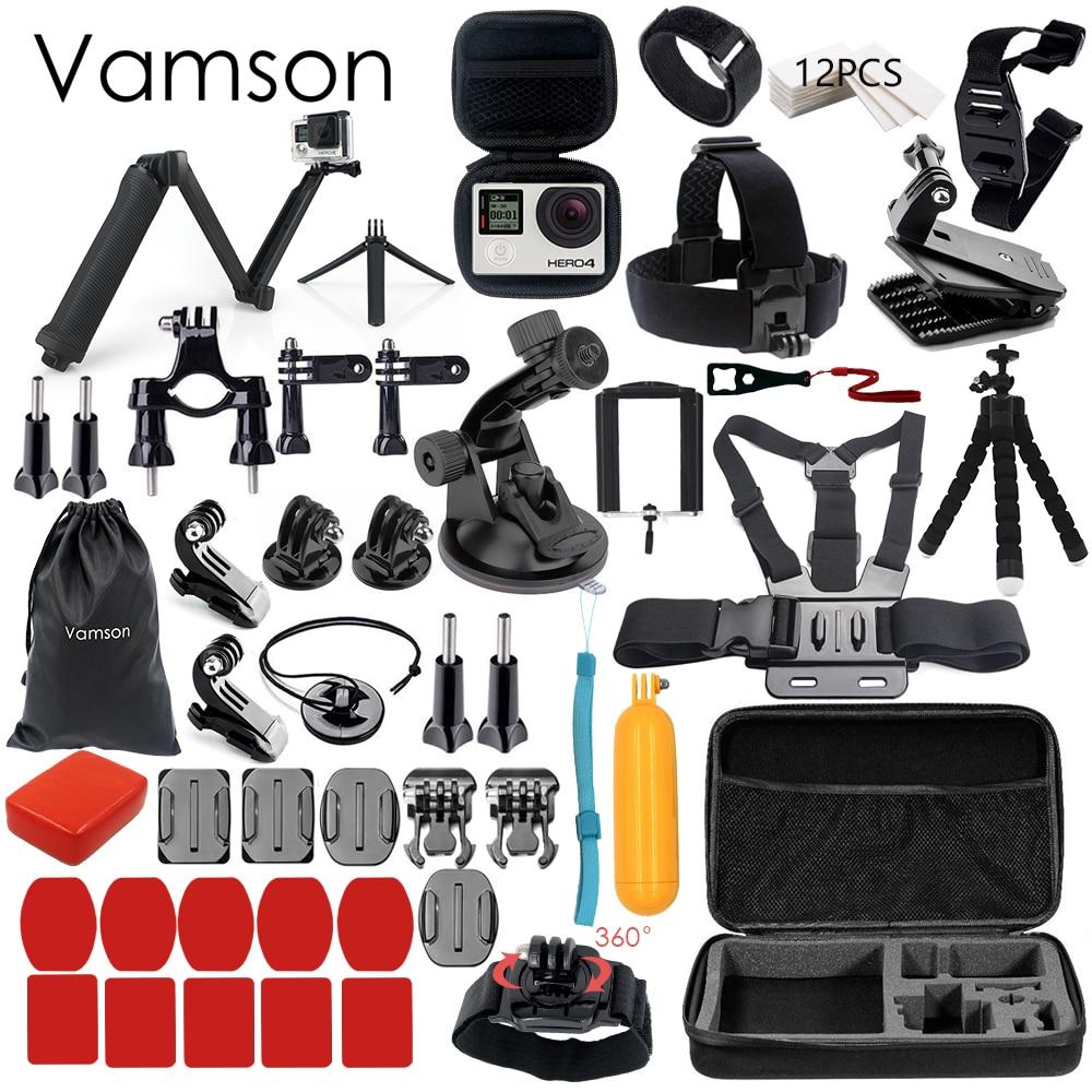 Vamson für Gopro Zubehör für go pro hero 6 5 4 3 kit 3 way selfie stick für Eken h8r/für xiaomi für yi EVA fall VS77
