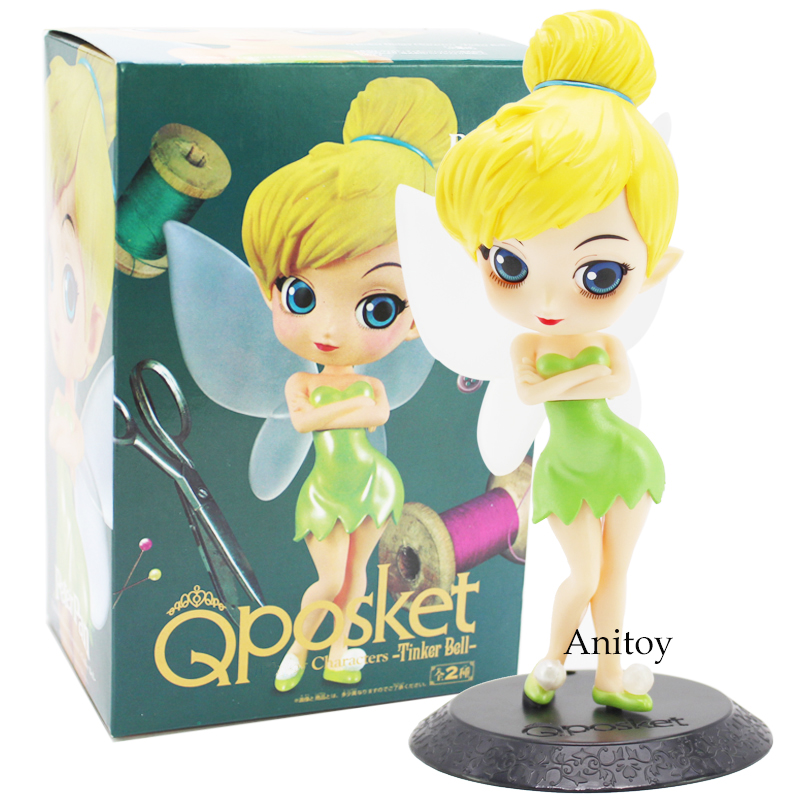 цены Q Posket Perter Pan Tinker Bell Fairy Dolls PVC Figures Princess Toys Christmas Birthday Gifts for Girls 15.5cm