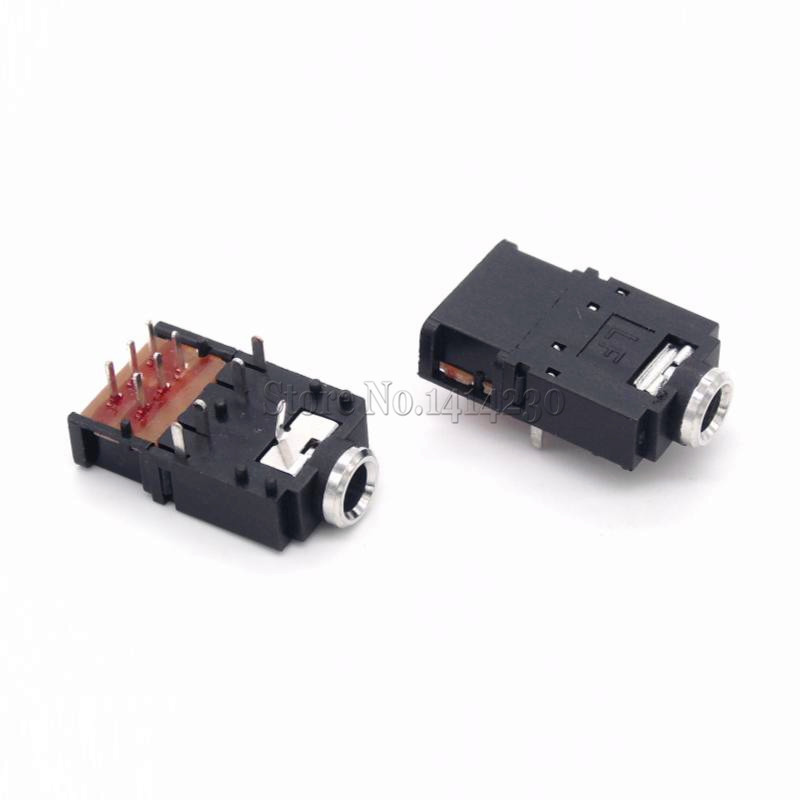 2Pcs PJ-307 3.5mm Stereo Audio Jack Socket 3.5 Dual Track Headphone Connector 11Pins With Switch PJ307