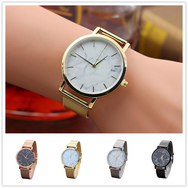Fashion Women Marble Surface Stainless Steel Band Quartz Movement Wrist Watch women watches bracelet watch ladies #TX4