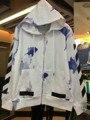 Alta qualidade dos homens/Mulheres Hoodies Moda OFF WHITE Sarja de Algodão Skate Harajuku Hip Hop Impresso Hoodie Do zipper roupas