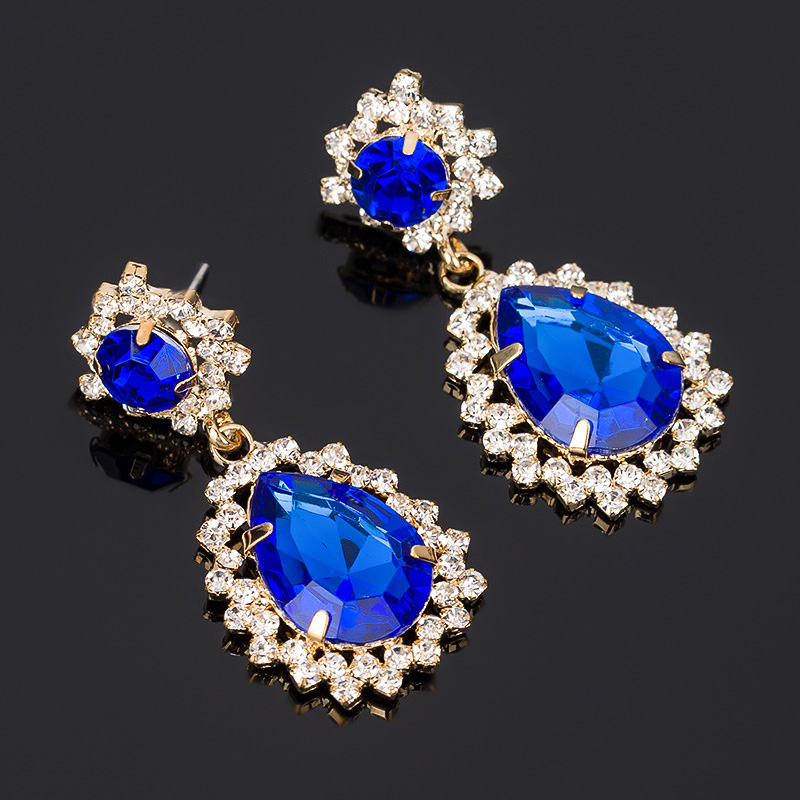 Accessories luxury elegant gem rhinestone big stud earring fashion vintage fashion stud earring gem earrings #E067