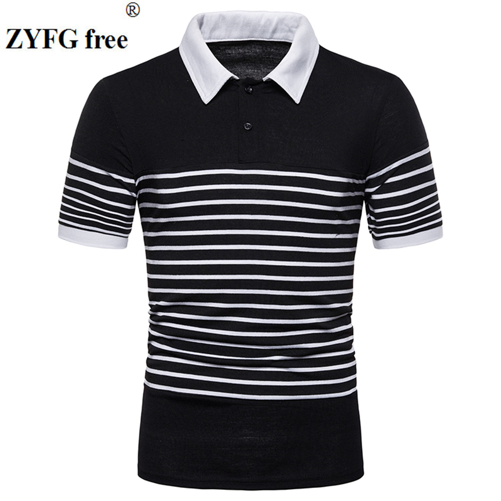 ZYFG free men polo shirt short-sleeved casual stripe Slim tide male clothing tops
