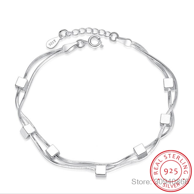 925 Sterling Silver Bracelet Square Box Star Double Chain Adjustable Bracelet Anklet For Women Pulseira S-B167