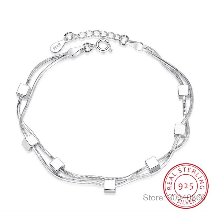 925 Sterling Silver Bracelet Square Box Star Double Chain Adjustable Bracelet Anklet For Women Pulseira S-B167