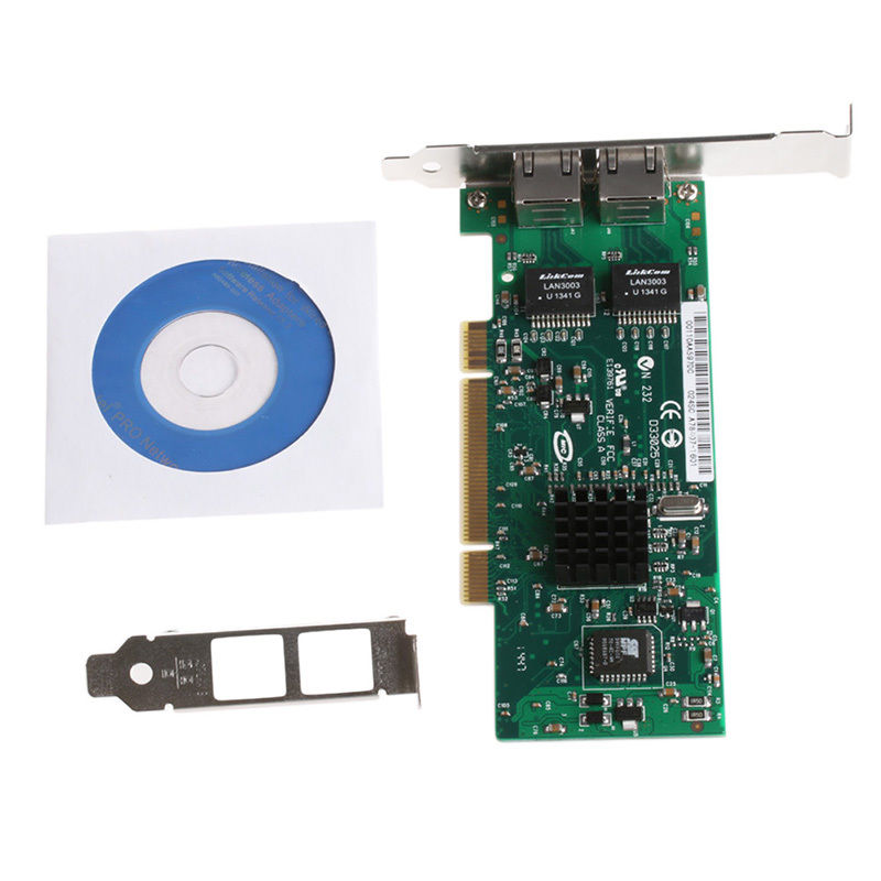 Gigabit Dual PCI RJ45 Port Ethernet Lan Network Card 10/100/1000Mbps Intel 82546 With Driver CD High Quality C26