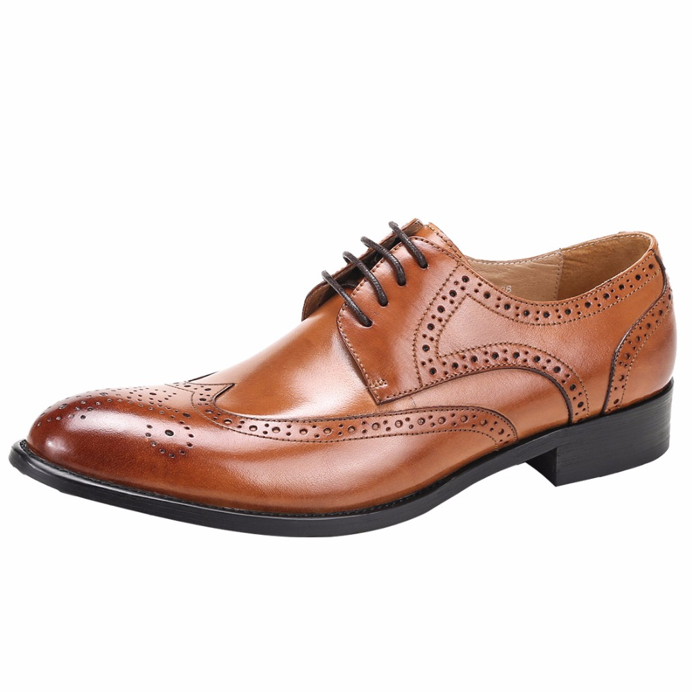 New Arrived 2018 Spring Big Size Mens Fashion Cow Genuine Leather Dress Shoes British Bullock Carved Mens Business Shoes Oxford