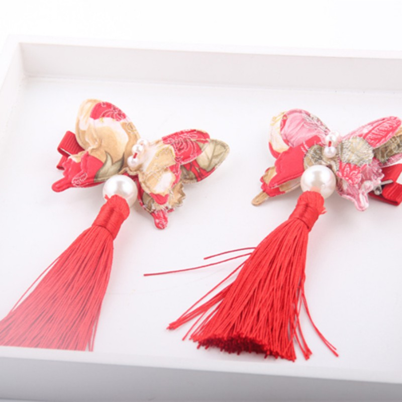 New Chinese Style Baby Girl Hair Accessories Cute Girls Tassel Flower Barrettes Hairpin Classic