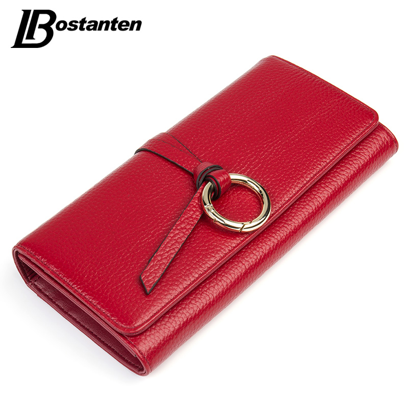 BOSTANTEN Hasp Genuine Leather Women Wallets Long Ladies Purse Coins Brand Designer Clutch Wallet Money Bag Female Card Holder genuine leather wallet women card holders clutch money bag luxury female carteira feminina long wallets ladies hasp purse