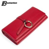 BOSTANTEN Hasp Genuine Leather Women Wallets Long Ladies Purse Coins Brand Designer Clutch Wallet Money Bag